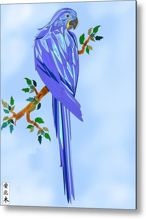 Blue Bird Metal Print featuring the painting Blue Hyacinth by Anne Norskog