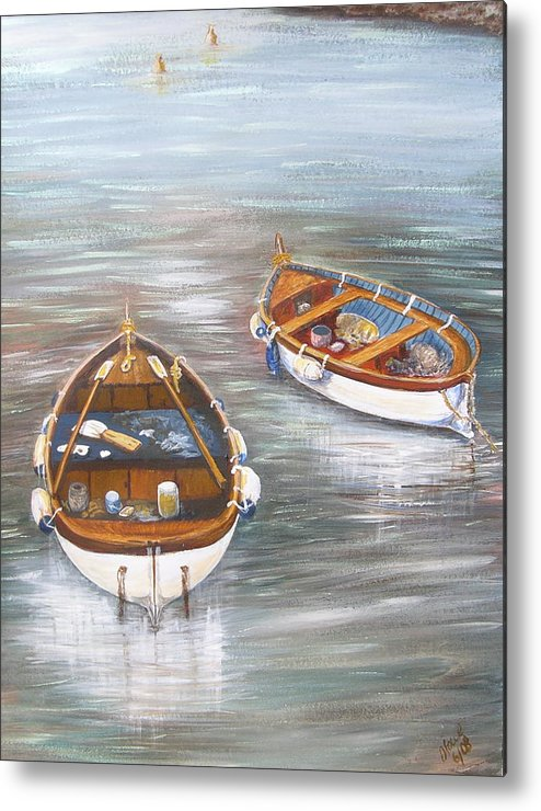 Boats Metal Print featuring the painting Boats by Jan Lowe