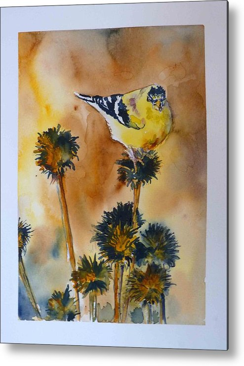 Bird Metal Print featuring the painting Bright Spot In Winter by P Maure Bausch