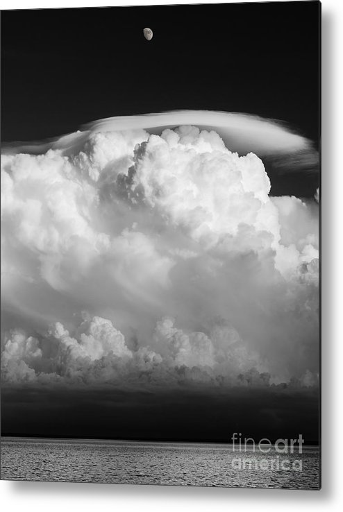 building A Mystery supercel lake Superior moon Over Lake Superior black And White Bw Monochrome Sky mary Amerman Metal Print featuring the photograph Building A Mystery by Mary Amerman