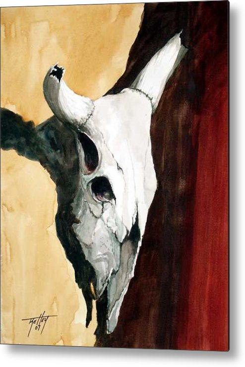 Skull Metal Print featuring the painting By The Horns by Travis Kelley