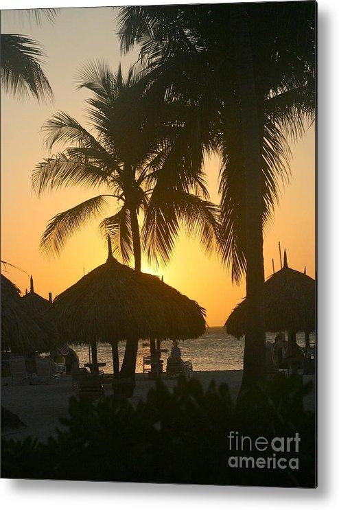 Sunset Metal Print featuring the photograph Cabana Sunset by Paula Deutz