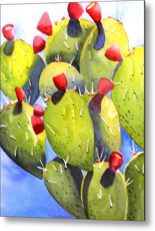 Fun Metal Print featuring the painting Cactus Blossoms by Dorothy Nalls