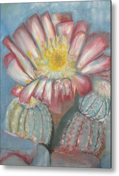 Cactus In Blume Metal Print featuring the painting Cactus On The Rocks by Kathy Mitchell