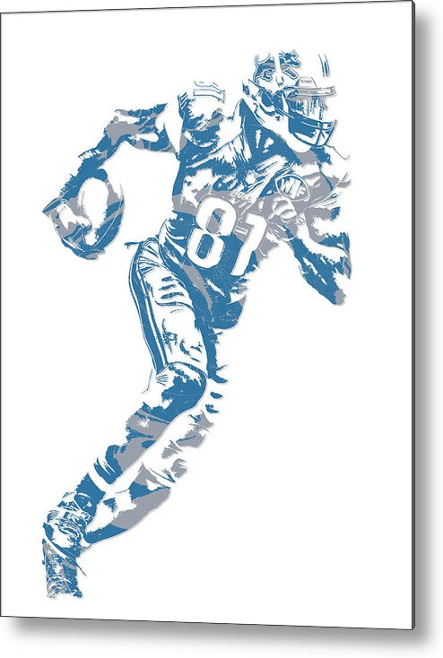 Calvin Johnson Metal Print featuring the mixed media Calvin Johnson Detroit Lions Pixel Art 7 by Joe Hamilton