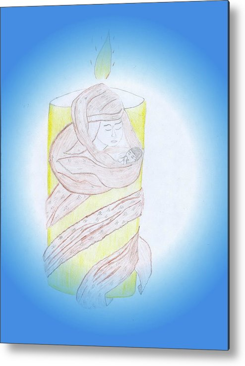 Will Never Abandon You Metal Print featuring the drawing Can A Mother Forget by Lucy Mugambi
