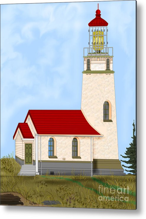 Lighthouse Metal Print featuring the painting Cape Blanco Oregon by Anne Norskog