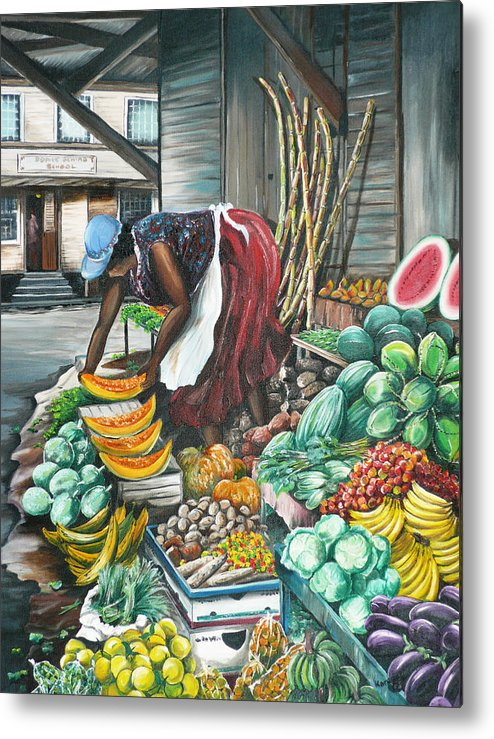 Caribbean Painting Market Vendor Painting Caribbean Market Painting Fruit Painting Vegetable Painting Woman Painting Tropical Painting City Scape Trinidad And Tobago Painting Typical Roadside Market Vendor In Trinidad Metal Print featuring the painting Caribbean Market Day by Karin Dawn Kelshall- Best