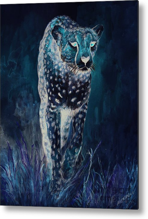 Cheetah Metal Print featuring the painting Cheetah Running by Morgan Fitzsimons