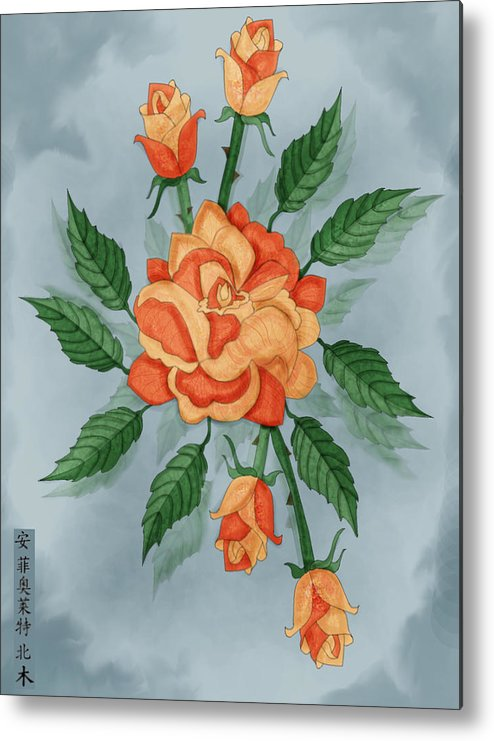 Floral Metal Print featuring the painting Christ And The Disciples Roses by Anne Norskog