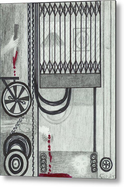 Elevator Metal Print featuring the drawing Claude Harvey's Death. by Ingrid Szabo
