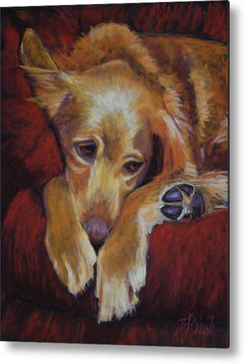 Sleeping Dog Metal Print featuring the painting Close To Dreamland by Billie Colson