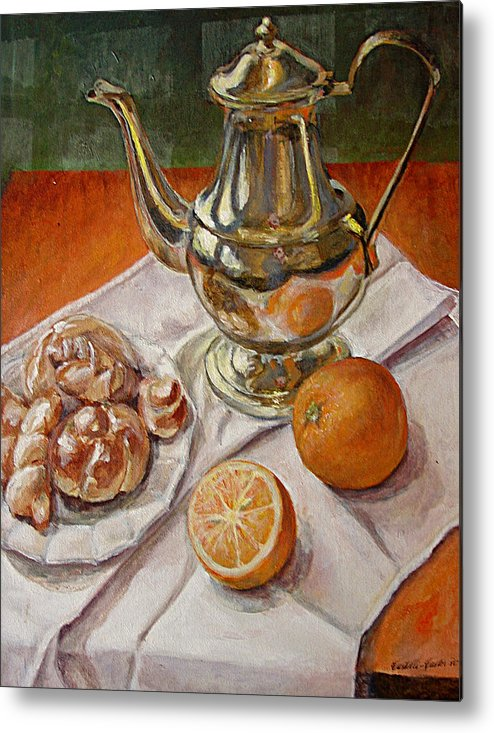 Continental Breakfast Metal Print featuring the painting Continental Breakfast by JoAnne Castelli-Castor