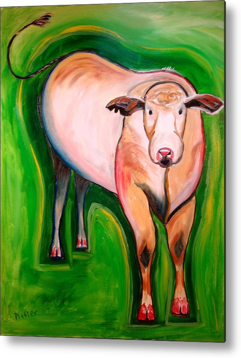 Whimsical Metal Print featuring the painting Cosmic Cow by Scott Plaster
