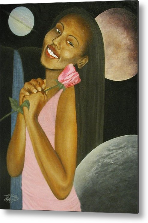 Portrait Metal Print featuring the painting Cosmic Queen Courtney by Angelo Thomas