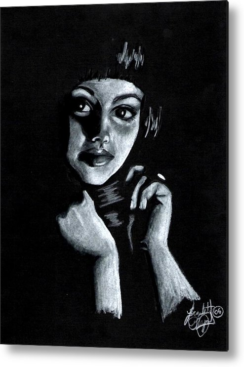 Portrait Metal Print featuring the drawing Curiosity by Scarlett Royal