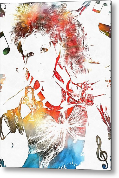 Cyndi Lauper Watercolor Metal Print featuring the painting Cyndi Lauper Watercolor by Dan Sproul