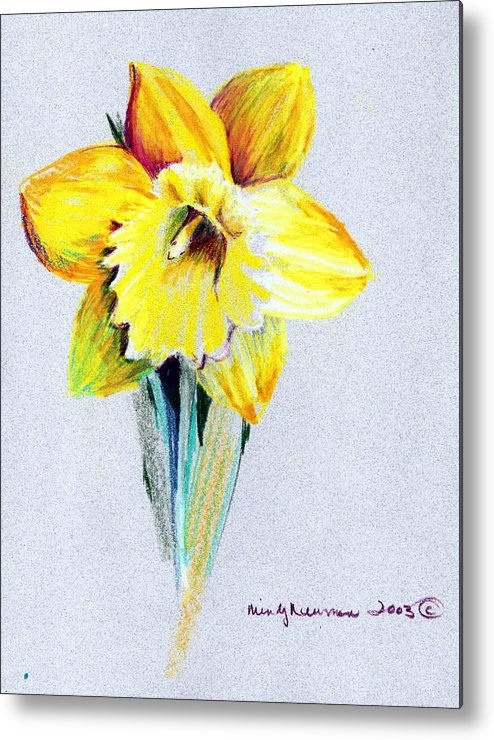 Daffodil Metal Print featuring the drawing Daffodil by Mindy Newman