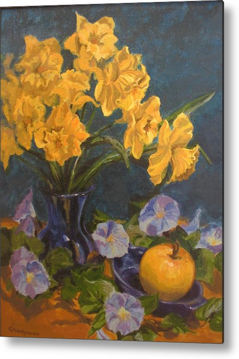 Still Life Metal Print featuring the painting Daffodils by Karen Ilari