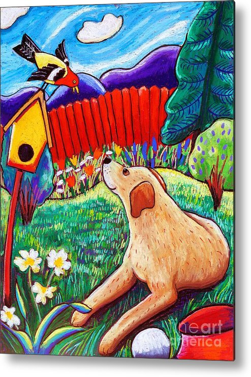 Dog Metal Print featuring the painting Daisy And The Tanager by Harriet Peck Taylor