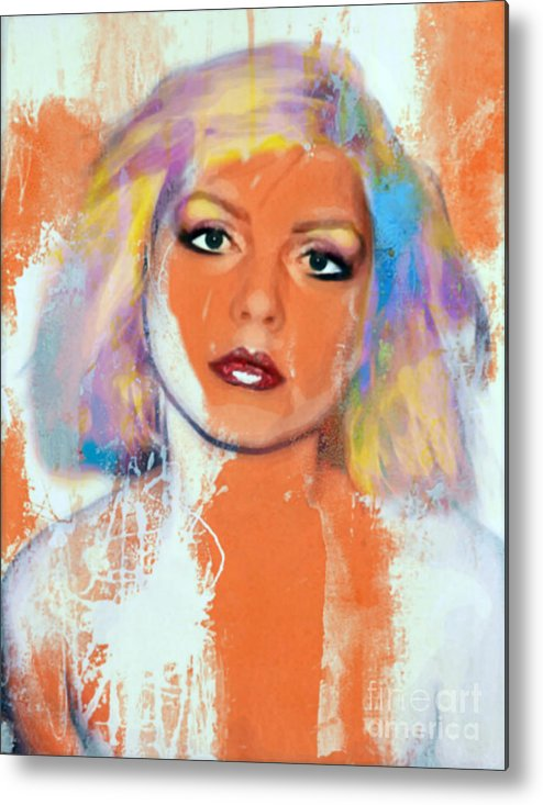 Debbie Harry Metal Print featuring the painting Debbie Harry - Orange Funky Grunge by Felix Von Altersheim