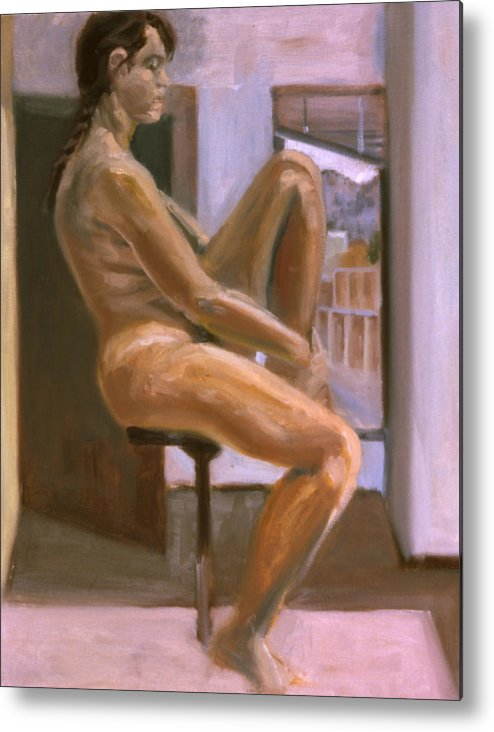 Woman Metal Print featuring the painting Delicate Balance by John Clum