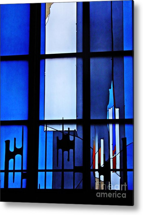 Johannes Schreiter Metal Print featuring the photograph Detail Of Modern Johannes Schreiter Window Mainz 2 by Sarah Loft