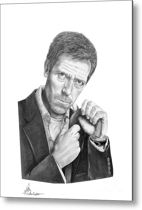 Drawing Metal Print featuring the drawing Dr. House Hugh Laurie by Murphy Elliott