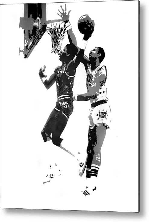 Basketball Metal Print featuring the painting Dr. J And Kareem by Ferrel Cordle