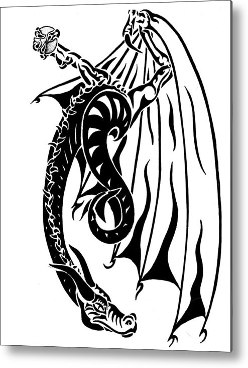 Dragon Metal Print featuring the drawing Dragons Orb by Robert Kimball