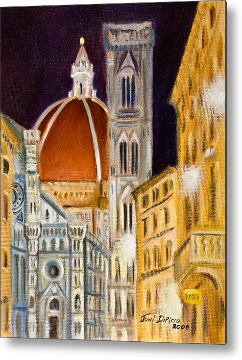 Duomo Metal Print featuring the painting Duomo At Night by Joni Dipirro