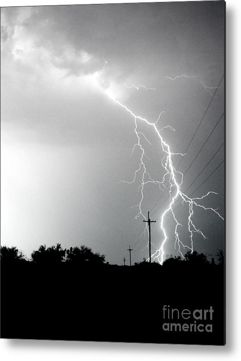 Lightning Metal Print featuring the photograph Electricity Vs Electricity-signed by J L Woody Wooden