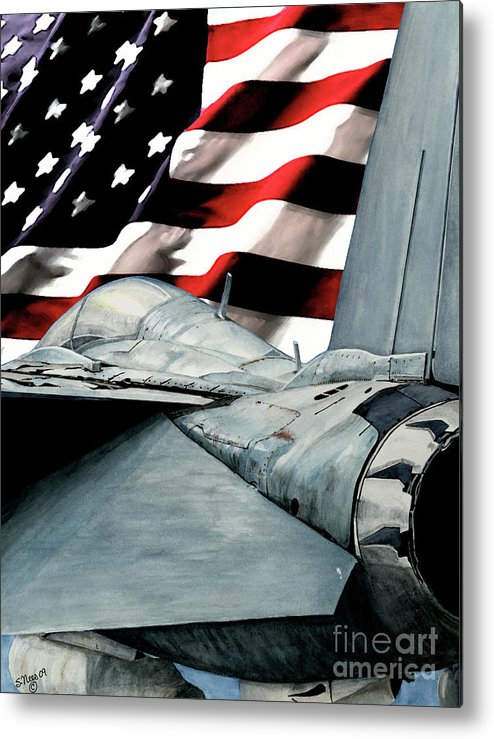 F-14 Metal Print featuring the painting F-14 And Flag by Shari Nees
