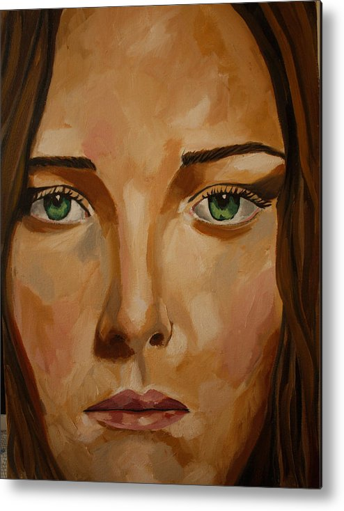 Metal Print featuring the painting F by Neda Roudbari