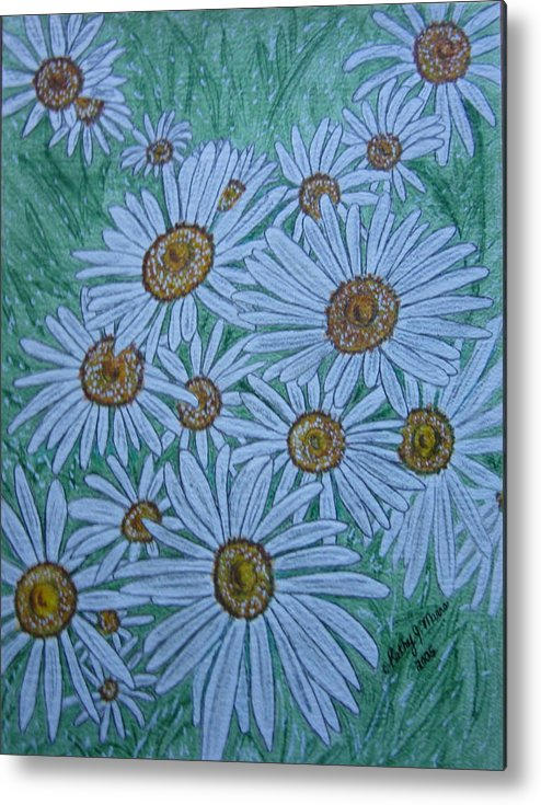 Field Metal Print featuring the painting Field Of Wild Daisies by Kathy Marrs Chandler