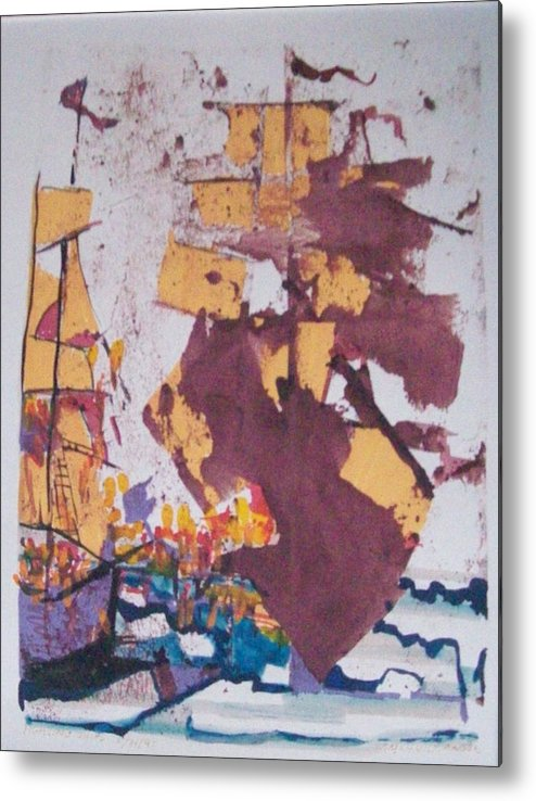 Ink Metal Print featuring the painting Fighting Ships by James Christiansen