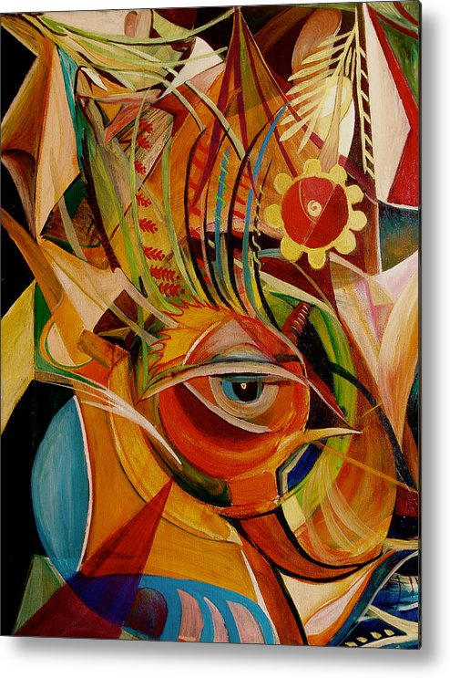 Abstract Metal Print featuring the painting Fire Bird by Ibrahim Rahma