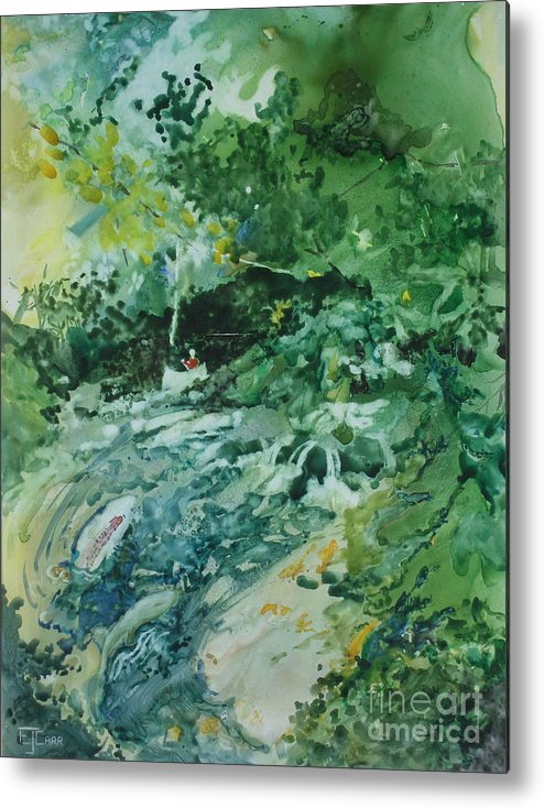 Green Metal Print featuring the painting Fish Ahead by Elizabeth Carr