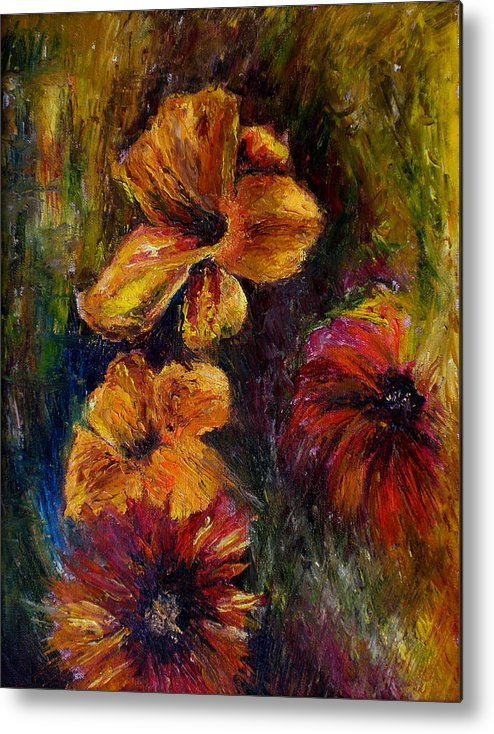 Knife Metal Print featuring the painting Flora by Lou Ewers