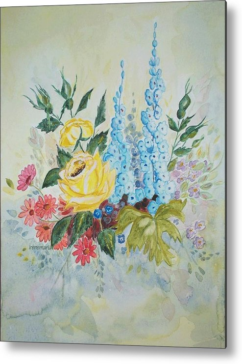 Roses Flowers Metal Print featuring the painting Flower Bouquet by Irenemaria