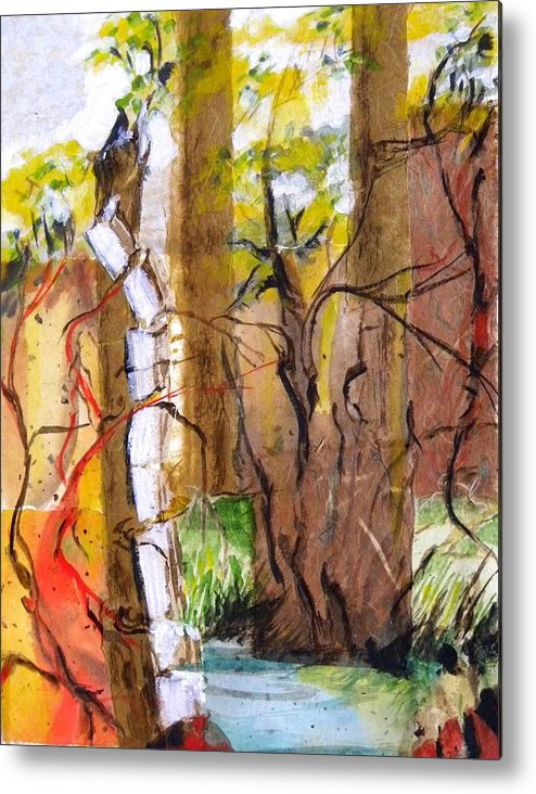 Mixed Media On Paper Metal Print featuring the mixed media Forest And Stream by Patricia Bigelow