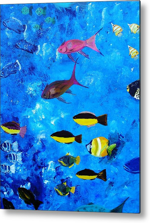 Fish Ocean Blue Vibrant Abstract Tropical Fun Metal Print featuring the painting Frivolity Downunder by Sher Green