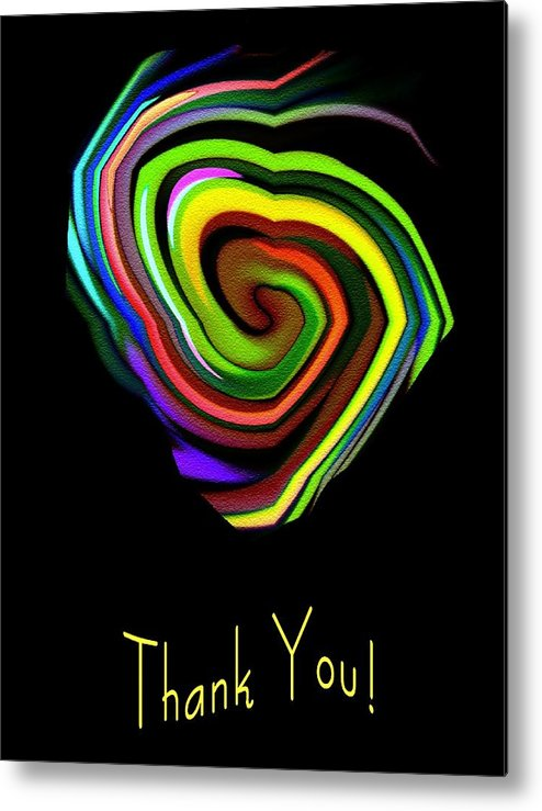 Thank You Card Metal Print featuring the digital art From The Heart by Mimo Krouzian