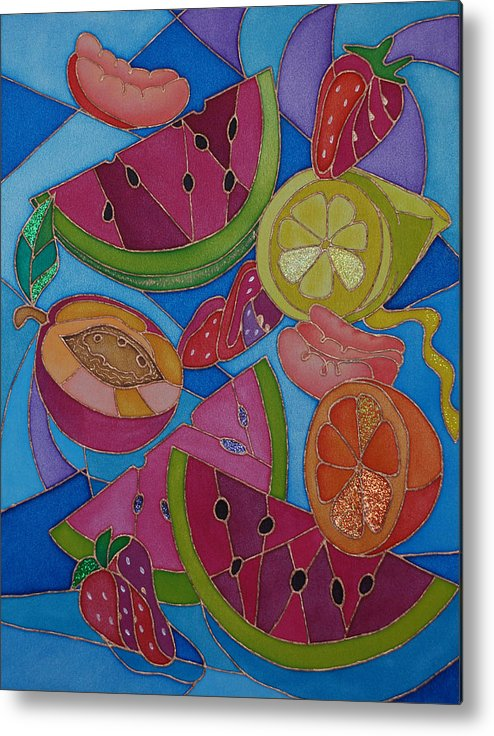 Still Life Metal Print featuring the painting Fruit Mix by Tatiana Antsiferova