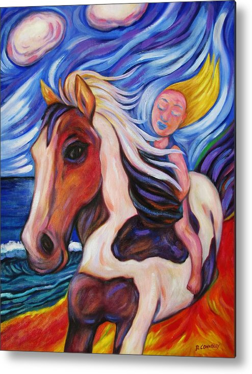 Diconnollyart Metal Print featuring the painting Gallop Along The Beach by Dianne Connolly