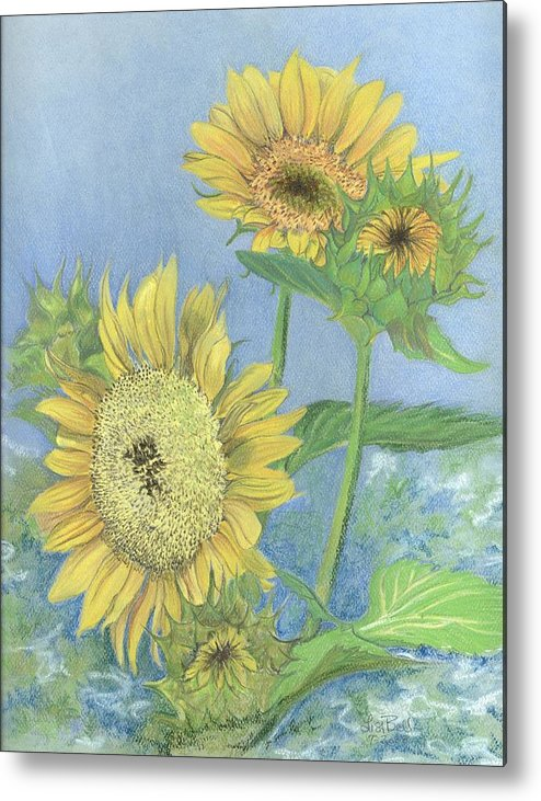 Florals Metal Print featuring the painting Garden Beauties by Lisa Bell