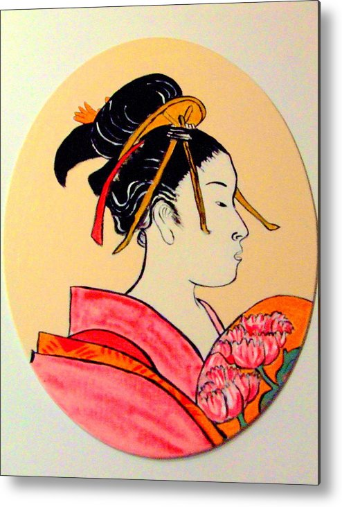 Geisha Girls Metal Print featuring the painting Geisha In The House Of Pleasure by Rusty Gladdish
