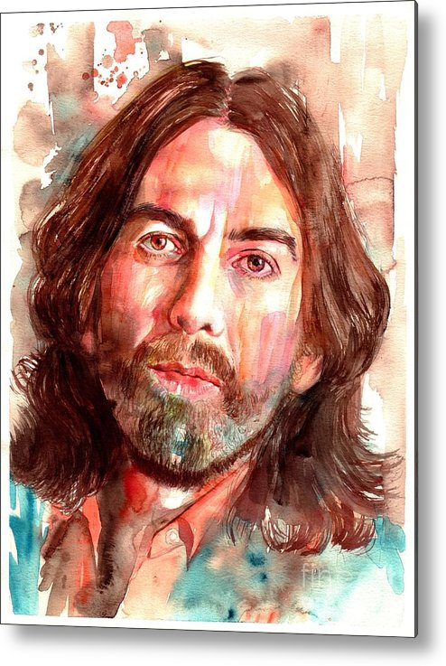 George Metal Print featuring the painting George Harrison Portrait by Suzann Sines