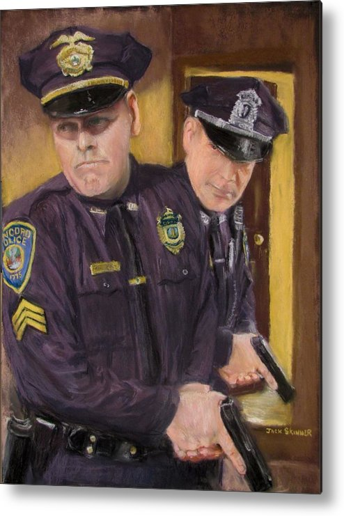 Law Enforcement Metal Print featuring the painting Go On Three...1....2.... by Jack Skinner