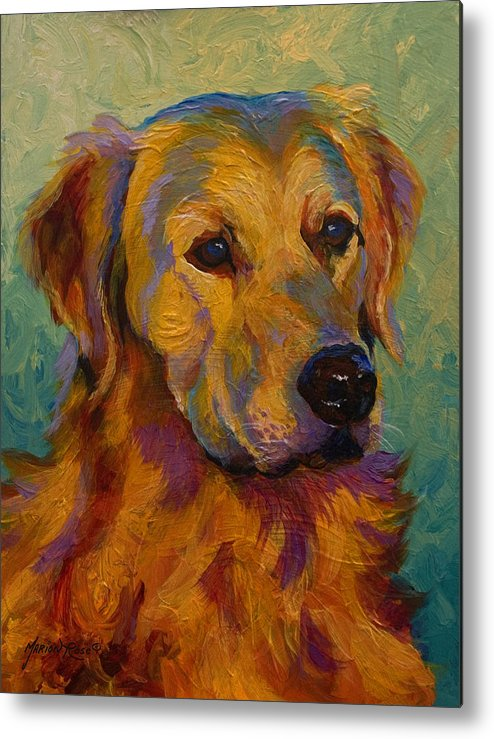 Golden Metal Print featuring the painting Golden Retriever by Marion Rose